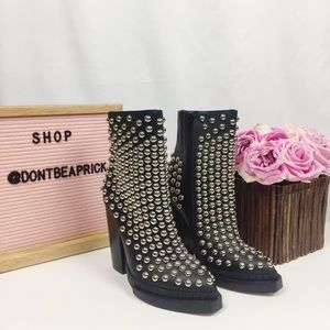 New Jeffrey Campbell Black Leather Studded Booties